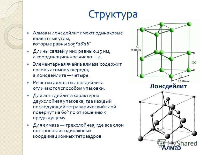 Структура Алмаз и лонсдейлит имеют одинаковые валентные углы, которые равны 109°2816 Длины связей у них равны 0,15 нм, а координационное число 4. Элементарная ячейка алмаза содержит восемь атомов углерода, а лонсдейлита четыре. Решетки алмаза и лонсд
