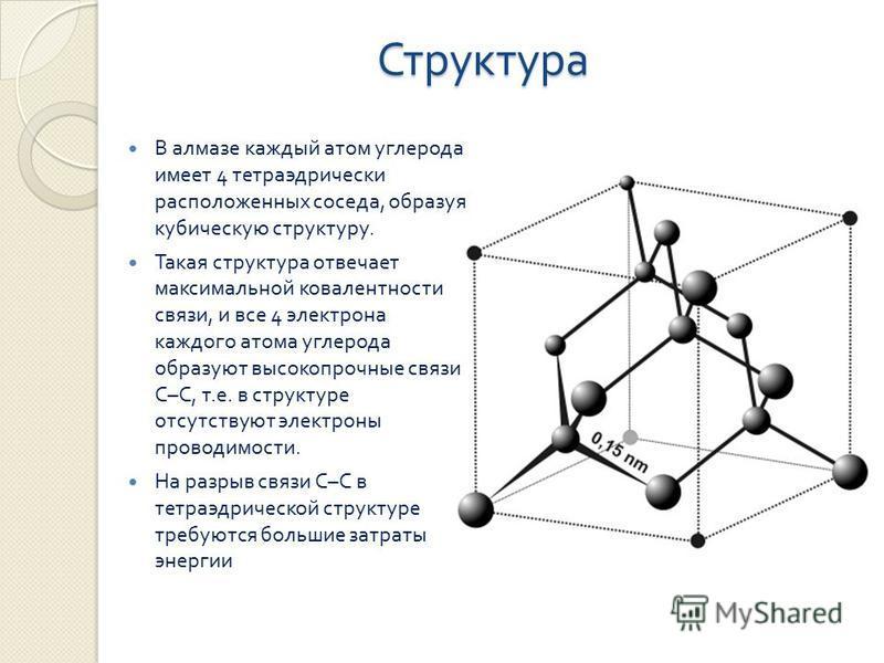 Структура В алмазе каждый атом углерода имеет 4 тетраэдрический расположенных соседа, образуя кубическую структуру. Такая структура отвечает максимальной ковалентности связи, и все 4 электрона каждого атома углерода образуют высокопрочные связи С – С