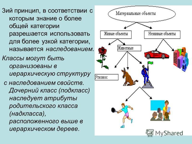 3 ий принцип, в соответствии с которым знание о более общей категории разрешается использовать для более узкой категории, называется наследованием. Классы могут быть организованы в иерархическую структуру с наследованием свойств. Дочерний класс (подк