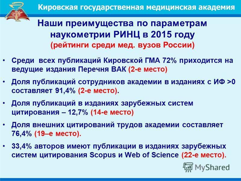 Наши преимущества по параметрам наукометрии РИНЦ в 2015 году (рейтинги среди мед. вузов России) Среди всех публикаций Кировской ГМА 72% приходится на ведущие издания Перечня ВАК (2-е место) Доля публикаций сотрудников академии в изданиях с ИФ >0 сост