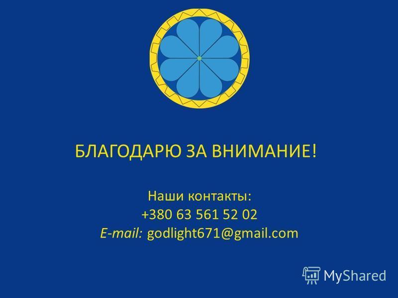 Наши контакты: +380 63 561 52 02 E-mail: godlight671@gmail.com БЛАГОДАРЮ ЗА ВНИМАНИЕ!