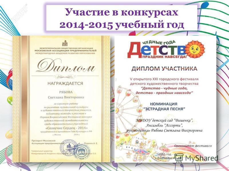 Участие в конкурсах 2014-2015 учебный год