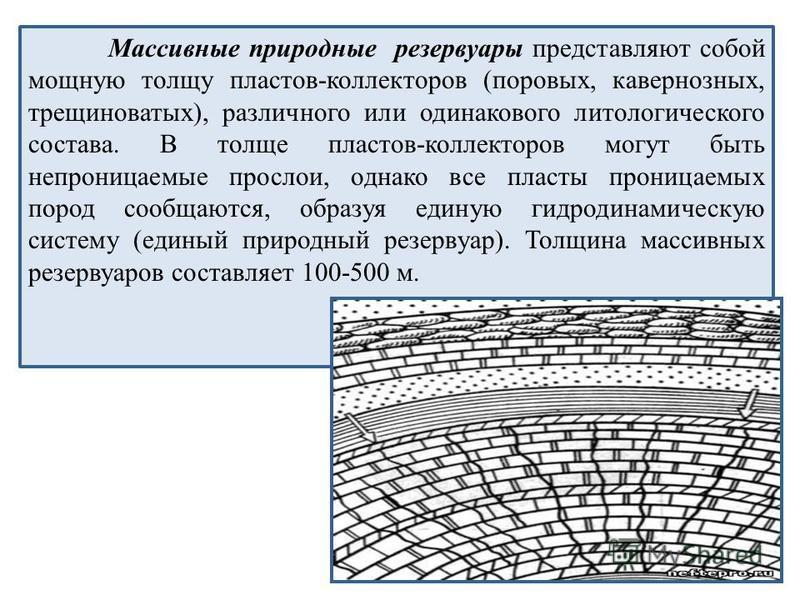 Массивные природные резервуары представляют собой мощную толщу пластов-коллекторов (поровых, кавернозных, трещиноватых), различного или одинакового литологического состава. В толще пластов-коллекторов могут быть непроницаемые прослои, однако все плас