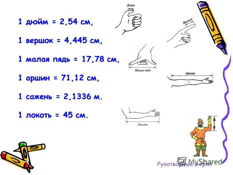 Рукотворные мерки 1 дюйм = 2,54 см, 1 вершок = 4,445 см, 1 малая пядь = 17,78 см, 1 аршин = 71,12 см, 1 сажень = 2,1336 м. 1 локоть = 45 см.