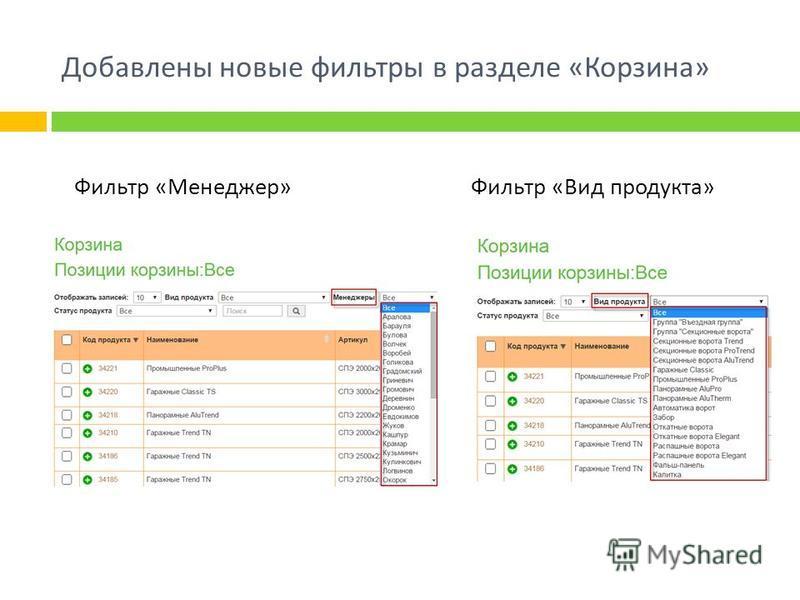 Добавлены новые фильтры в разделе « Корзина » Фильтр « Вид продукта » Фильтр « Менеджер »