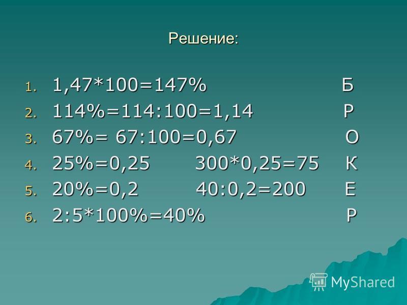 Решение: 1. 1,47*100=147% Б 2. 114%=114:100=1,14 Р 3. 67%= 67:100=0,67 О 4. 25%=0,25 300*0,25=75 К 5. 20%=0,2 40:0,2=200 Е 6. 2:5*100%=40% Р