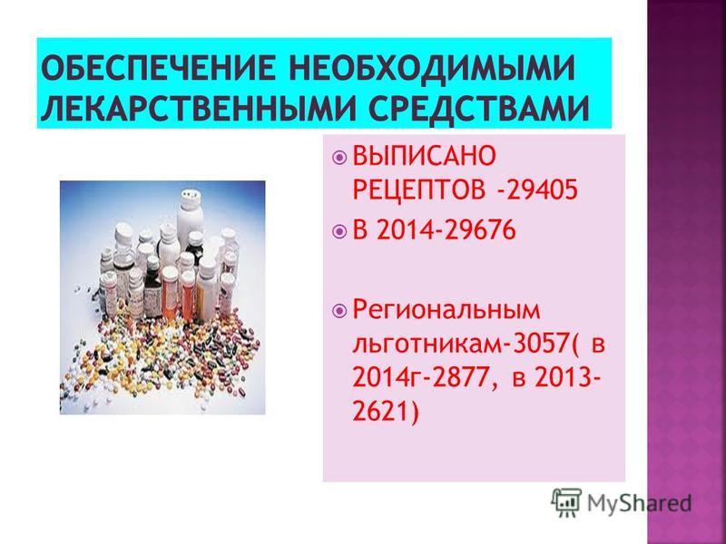 ВЫПИСАНО РЕЦЕПТОВ -29405 В 2014-29676 Региональным льготникам-3057( в 2014 г-2877, в 2013- 2621)