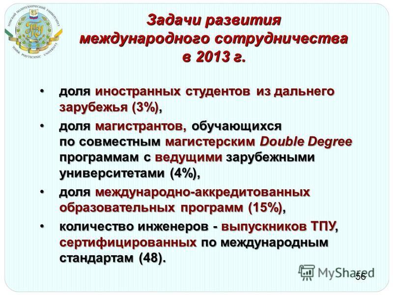 Задачи развития международного сотрудничества в 2013 г. 56 доля иностранных студентов из дальнего зарубежья (3%),доля иностранных студентов из дальнего зарубежья (3%), доля магистрантов, обучающихся по совместным магистерским Double Degree программам