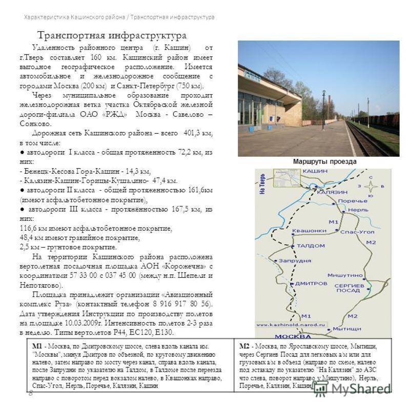 Характеристика Кашинского района / Транспортная инфраструктура Удаленность районного центра (г. Кашин) от г.Тверь составляет 160 км. Кашинский район имеет выгодное географическое расположение. Имеется автомобильное и железнодорожное сообщение с город