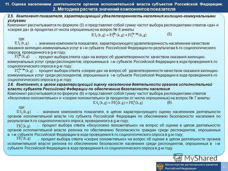 Министерство регионального развития Российской Федерации 15 2.5. Компонент показателя, характеризующий удовлетворенность населения жилищно-коммунальными услугами Компонент рассчитывается по формуле (5) и представляет собой сумму частот выбора респонд