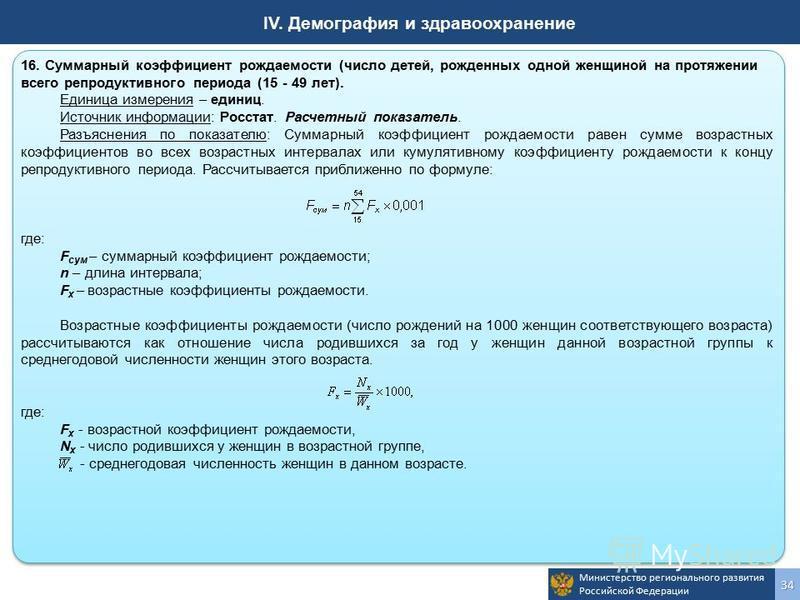 Министерство регионального развития Российской Федерации 34 IV. Демография и здравоохранение 16. Суммарный коэффициент рождаемости (число детей, рожденных одной женщиной на протяжении всего репродуктивного периода (15 - 49 лет). Единица измерения – е