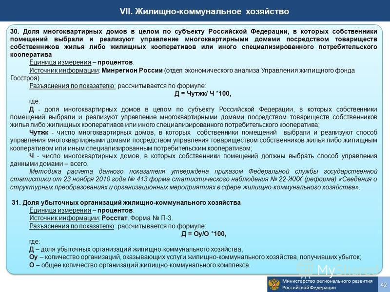 Министерство регионального развития Российской Федерации 42 VII. Жилищно-коммунальное хозяйство 30. Доля многоквартирных домов в целом по субъекту Российской Федерации, в которых собственники помещений выбрали и реализуют управление многоквартирными
