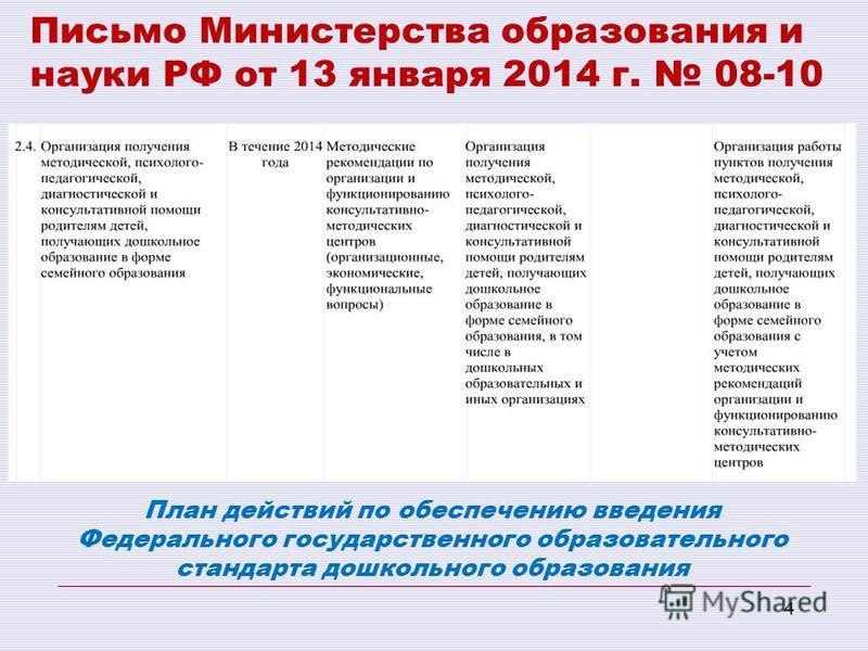 4 Письмо Министерства образования и науки РФ от 13 января 2014 г. 08-10 План действий по обеспечению введения Федерального государственного образовательного стандарта дошкольного образования