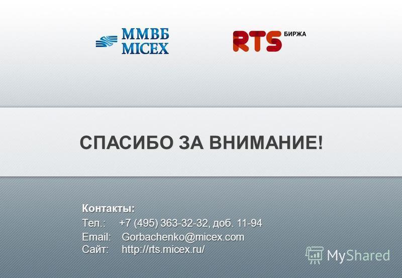 СПАСИБО ЗА ВНИМАНИЕ! Контакты: Tел.:+7 (495) 363-32-32, доб. 11-94 Email: Gorbachenko@micex.com Сайт: http://rts.micex.ru/