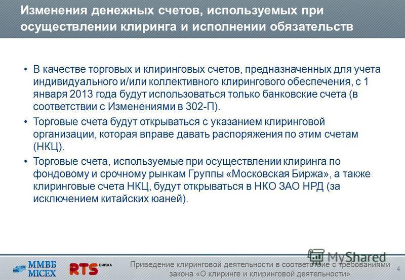 Изменения денежных счетов, используемых при осуществлении клиринга и исполнении обязательств В качестве торговых и клиринговых счетов, предназначенных для учета индивидуального и/или коллективного клирингового обеспечения, с 1 января 2013 года будут
