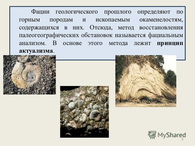 Фации геологического прошлого определяют по горным породам и ископаемым окаменелостям, содержащихся в них. Отсюда, метод восстановления палеогеографических обстановок называется фациальным анализом. В основе этого метода лежит принцип актуализма. 6