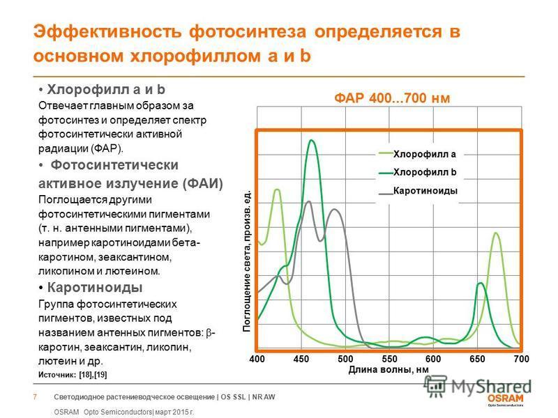 Светодиодное растениеводческое освещение | OS SSL | NR AW OSRAM Opto Semiconductors| март 2015 г. 7 Эффективность фотосинтеза определяется в основном хлорофиллом a и b Хлорофилл a и b Отвечает главным образом за фотосинтез и определяет спектр фотосин
