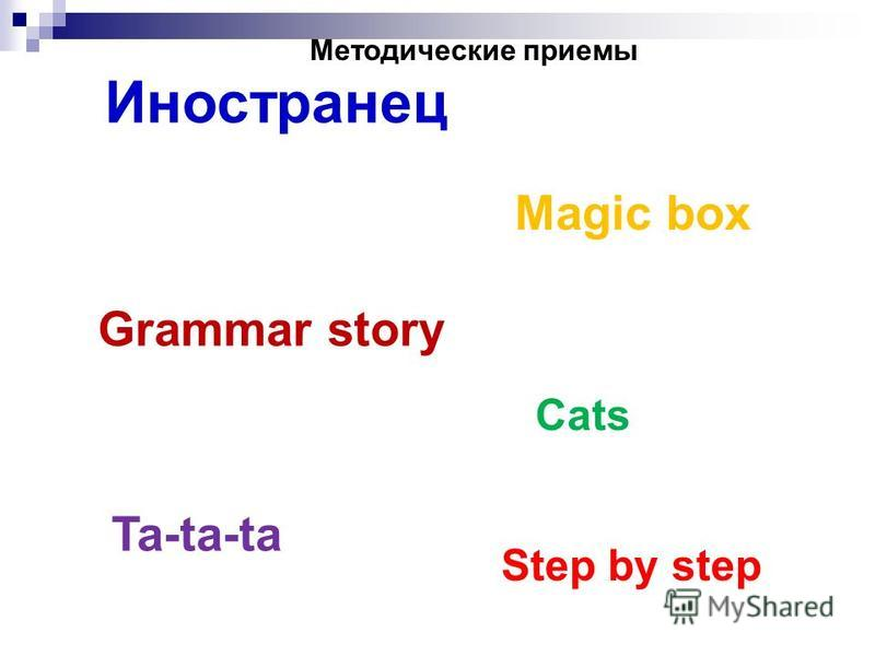 Иностранец Мagic box Grammar story Ta-ta-ta Cats Step by step Методические приемы