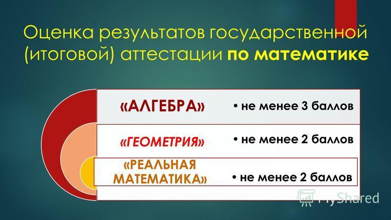 Оценка результатов государственной (итоговой) аттестации по математике «АЛГЕБРА» «ГЕОМЕТРИЯ» «РЕАЛЬНАЯ МАТЕМАТИКА» не менее 3 баллов не менее 2 баллов
