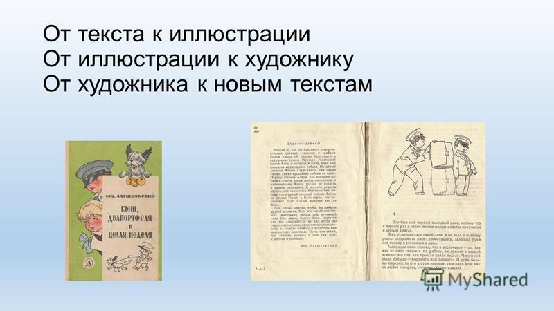 От текста к иллюстрации От иллюстрации к художнику От художника к новым текстам