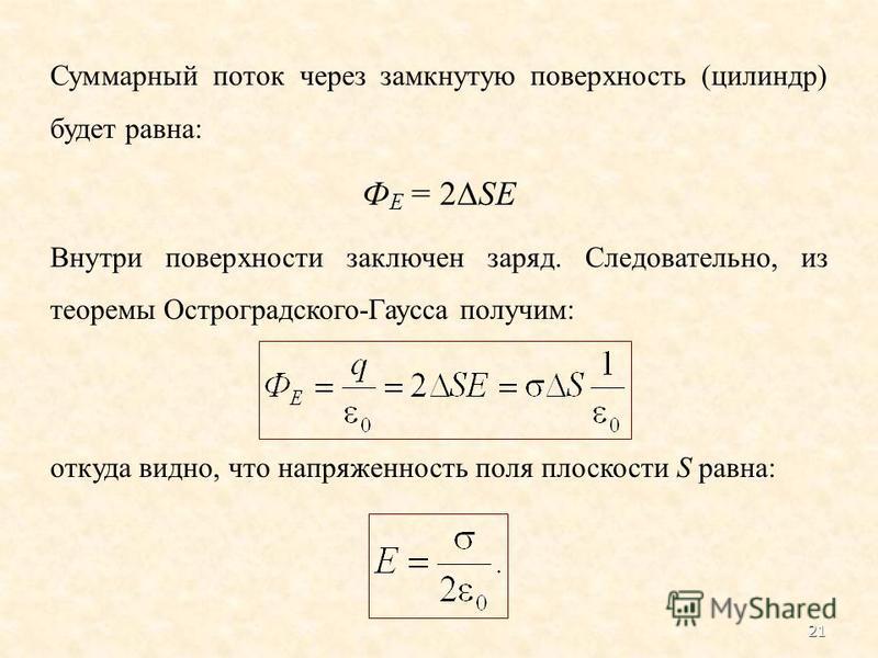 Суммарный поток через замкнутую поверхность (цилиндр) будет равна: Ф Е = 2 SE Внутри поверхности заключен заряд. Следовательно, из теоремы Остроградского-Гаусса получим: откуда видно, что напряженность поля плоскости S равна: 21