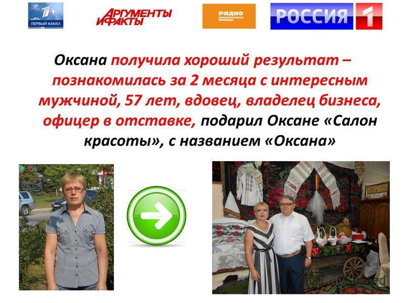 Оксана получила хороший результат – познакомилась за 2 месяца с интересным мужчиной, 57 лет, вдовец, владелец бизнеса, офицер в отставке, подарил Оксане «Салон красоты», с названием «Оксана»