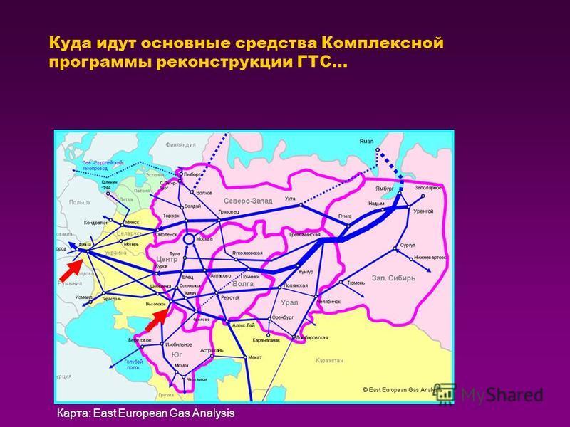 Куда идут основные средства Комплексной программы реконструкции ГТС… Карта: East European Gas Analysis