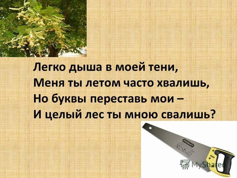 Легко дыша в моей тени, Меня ты летом часто хвалишь, Но буквы переставь мои – И целый лес ты мною свалишь?