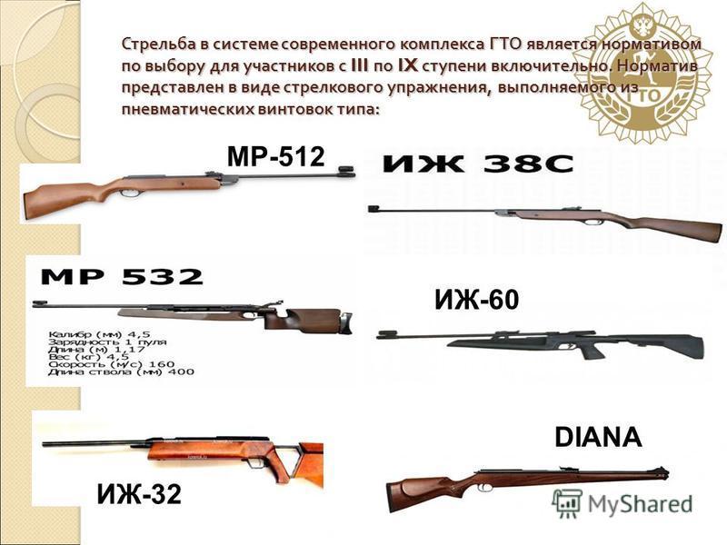 Стрельба в системе современного комплекса ГТО является нормативом по выбору для участников с III по IX ступени включительно. Норматив представлен в виде стрелкового упражнения, выполняемого из пневматических винтовок типа : МР-512 ИЖ-32 ИЖ-60 DIANA