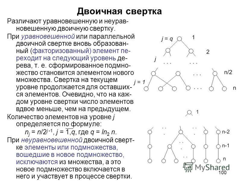 100 Двоичная свертка Различают уравновешенную и неурав- новешенную двоичную свертку. При уравновешенной или параллельной двоичной свертке вновь образован- ный (факторизованный) элемент пе- реходит на следующий уровень де- рева, т. е. сформированное п