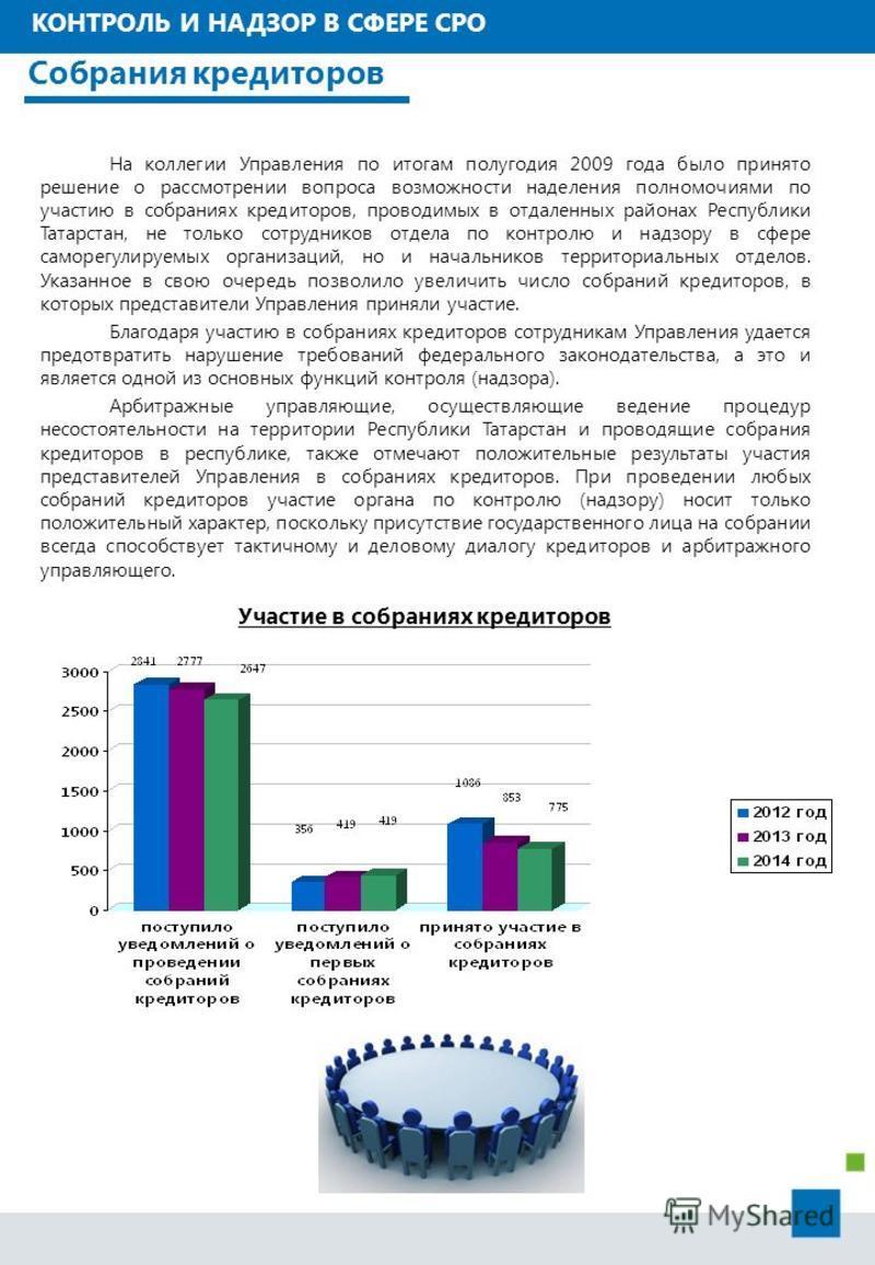 На коллегии Управления по итогам полугодия 2009 года было принято решение о рассмотрении вопроса возможности наделения полномочиями по участию в собраниях кредиторов, проводимых в отдаленных районах Республики Татарстан, не только сотрудников отдела
