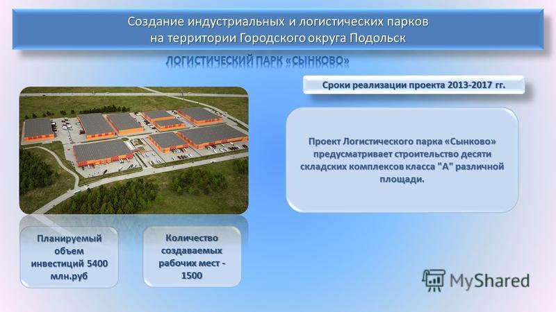 Сроки реализации проекта 2013-2017 гг. Проект Логистического парка «Сынково» предусматривает строительство десяти складских комплексов класса