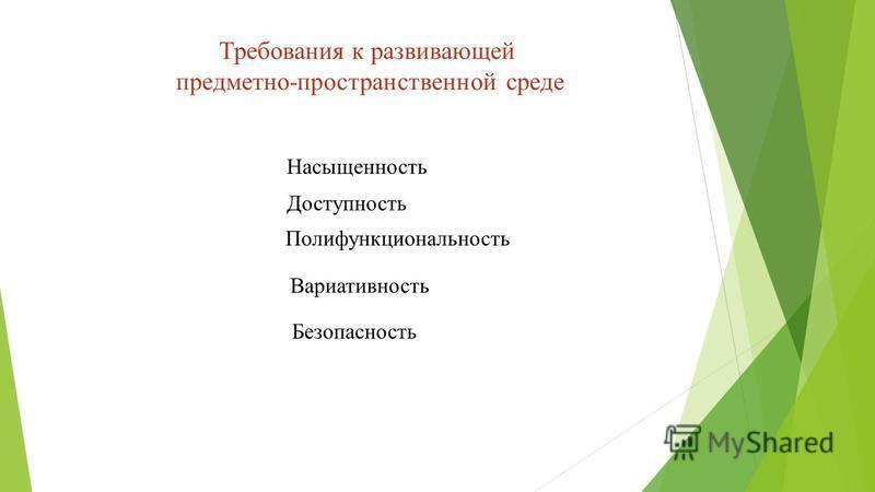 Требования к развивающей предметно-пространственной среде Насыщенность Вариативность Доступность Безопасность Полифункциональность