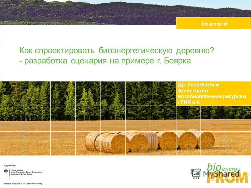 bio-prom.net Др. Леся Матиюк Агенство по возобновляемым ресурсам / FNR e.V. Как спроектировать биоэнергетическую деревню? - разработка сценария на примере г. Боярка