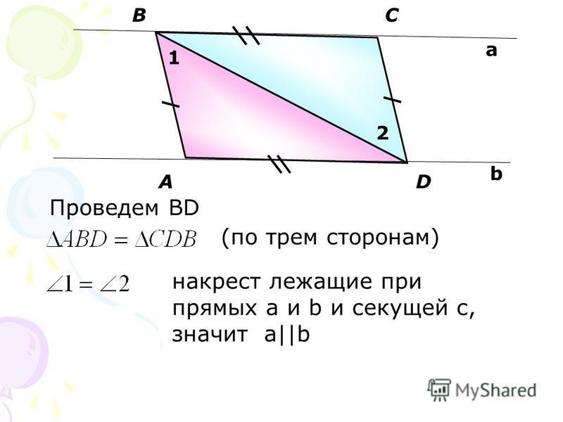 А BC D a b Проведем BD (по трем сторонам) 1 2 накрест лежащие при прямых a и b и секущей с, значит a||b