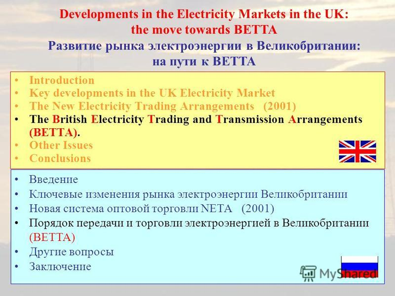 Introduction Key developments in the UK Electricity Market The New Electricity Trading Arrangements (2001) The British Electricity Trading and Transmission Arrangements (BETTA). Other Issues Conclusions Developments in the Electricity Markets in the
