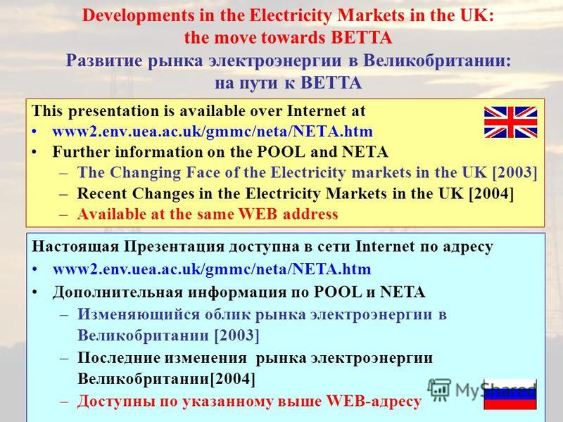 This presentation is available over Internet at www2.env.uea.ac.uk/gmmc/neta/NETA.htm Further information on the POOL and NETA –The Changing Face of the Electricity markets in the UK [2003] –Recent Changes in the Electricity Markets in the UK [2004]