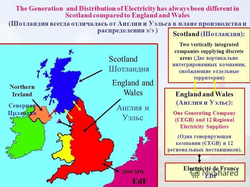 The Generation and Distribution of Electricity has always been different in Scotland compared to England and Wales (Шотландия всегда отличалась от Англии и Уэльса в плане производства и распределения э/э ) Scotland Шотландия Scotland (Шотландия): Two