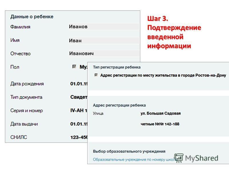 Шаг 3. Подтверждение введенной информации Иванов Иван Иванович