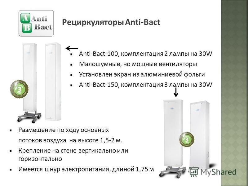 Рециркуляторы Anti-Bact Anti-Bact-100, комплектация 2 лампы на 30W Малошумные, но мощные вентиляторы Установлен экран из алюминиевой фольги Anti-Bact-150, комплектация 3 лампы на 30W Размещение по ходу основных потоков воздуха на высоте 1,5-2 м. Креп