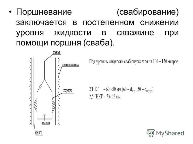 Поршневание (свабирование) заключается в постепенном снижении уровня жидкости в скважине при помощи поршня (сваба).