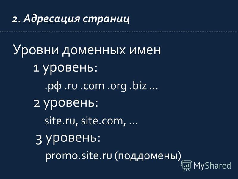 2. Адресация страниц Уровни доменных имен 1 уровень:.рф.ru.com.org.biz … 2 уровень: site.ru, site.com, … 3 уровень: promo.site.ru (поддомены)