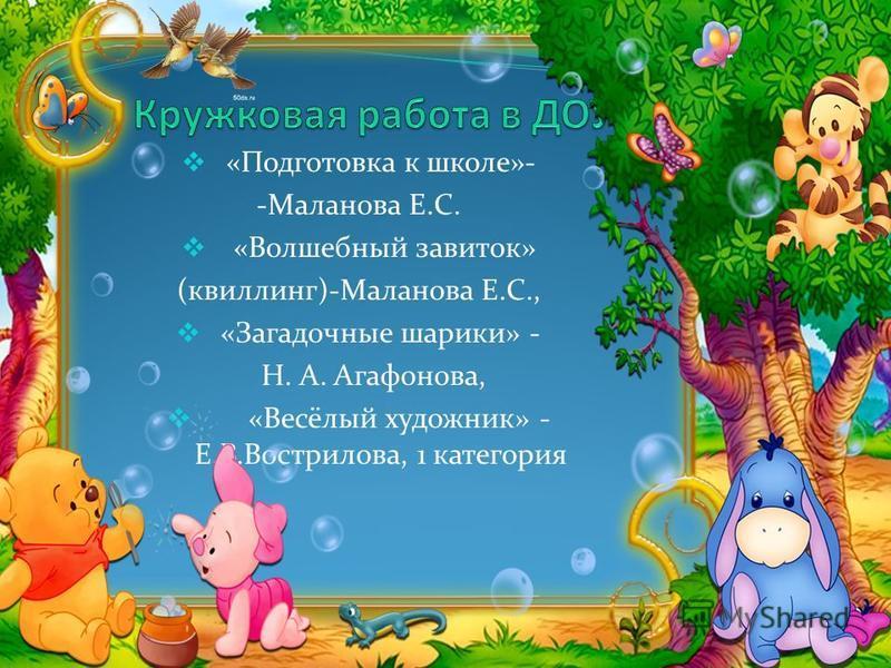 «Подготовка к школе»- -Маланова Е.С. «Волшебный завиток» (квиллинг)-Маланова Е.С., «Загадочные шарики» - Н. А. Агафонова, «Весёлый художник» - Е.В.Вострилова, 1 категория