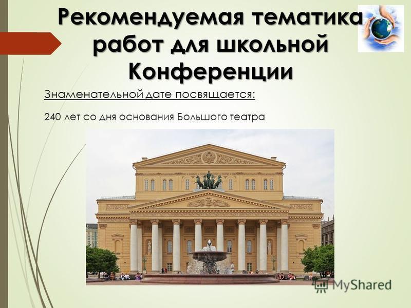 Знаменательной дате посвящается: Рекомендуемая тематика работ для школьной Конференции 240 лет со дня основания Большого театра