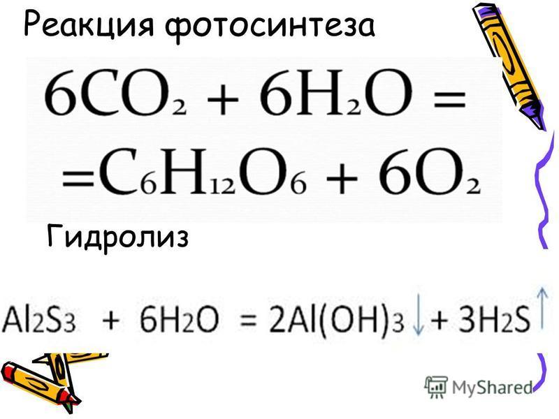 Реакция фотосинтеза Гидролиз