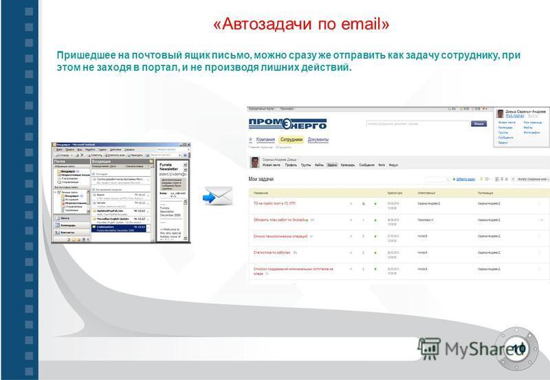 10 «Автозадачи по email» Пришедшее на почтовый ящик письмо, можно сразу же отправить как задачу сотруднику, при этом не заходя в портал, и не производя лишних действий.