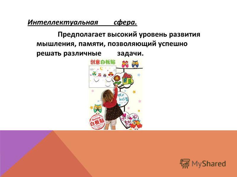 Интеллектуальная сфера. Предполагает высокий уровень развития мышления, памяти, позволяющий успешно решать различные задачи.