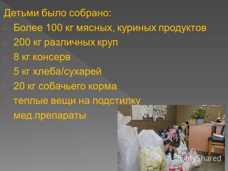 Детьми было собрано: - Более 100 кг мясных, куриных продуктов - 200 кг различных круп - 8 кг консервы - 5 кг хлеба/сухарей - 20 кг собачьего корма - теплые вещи на подстилку - мед.препараты