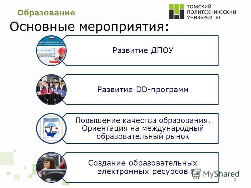 Образование Основные мероприятия: Развитие ДПОУ Развитие DD-программ Повышение качества образования. Ориентация на международный образовательный рынок Создание образовательных электронных ресурсов 2