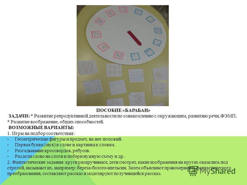 ПОСОБИЕ «БАРАБАН» ЗАДАЧИ: * Развитие репродуктивной деятельности по ознакомлению с окружающим, развитию речи, ФЭМП. * Развитие воображение, общих способностей. ВОЗМОЖНЫЕ ВАРИАНТЫ: 1. Игры на подбор соответствия: -Геометрические фигуры и предмет, на н